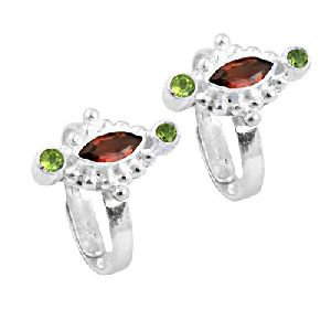 Garnet And Peridot Gemstone 925 Silver Toe Rings