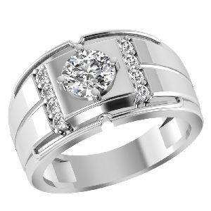 Orchid Jewelry 925 Sterling Silver 1.40 Carat White Topaz Solitaire Halo Mens Ring