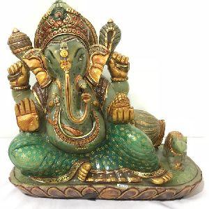 Green Aventurine Stone Hand Carved Ganesha Statue