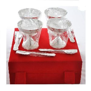 Brass Silver Plated Ice Cream Sets
