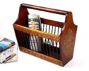 Wooden Painted Brass Embossed Magazine Holder Basket