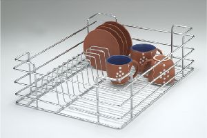 Modular Kitchen Stainless Steel Wire Drawer Cup And Saucer Basket Latest