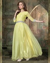 Yellow Color Casual Wear Embroidered Net