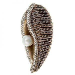 Black White Diamond Oyster Brooch