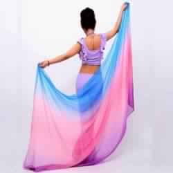 Belly dance silk veils Pink and Blue