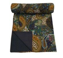 Blue paisley kantha Quilt Indian Reversible Blanket