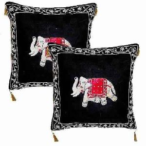 Charming Black Elephant Zardosi Velvet Cushion cover