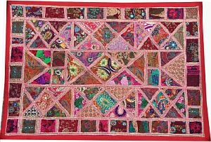 Decorative Embroidered Patchwork Bohemian Tapestry-Boho Wall Hanging
