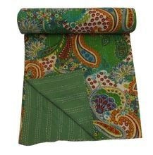Embroidered Blankets Queen Size Kantha Quilt