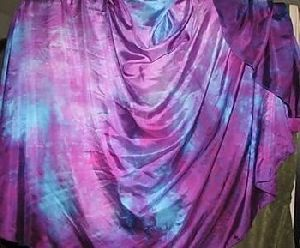 Turquoise-Purple semi cricle batik Belly dance silk