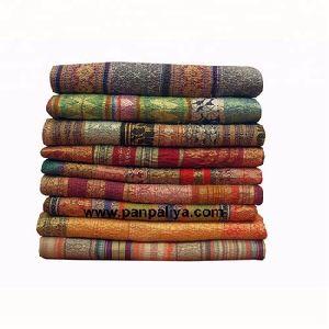 Unique Silk Jacquard Reversible Kantha Quilt, Bohemian Blanket