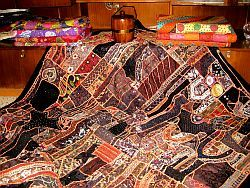 Vintage sari Beaded bedspreads Bedding