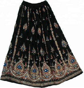 Bohemian gypsy Crown black sequin long skirts