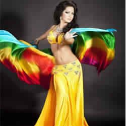 yard belly dance silk veil Rainbow