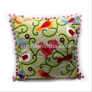 Embroidered Art Cotton Cushion Cover With Pompom