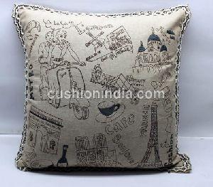 Embroidered Linen Designer Artwork Cushion