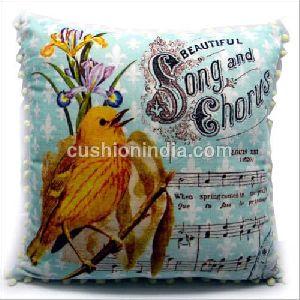 Singing Bird Art Printed Velvet Cushion Cover