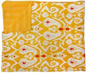 Yellow Ikat Printed Handmade Cotton Kantha Quilt Blanket
