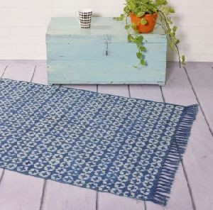 hand block printed floor rug