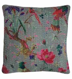 Bird Print Kantha Work Cushion Cover