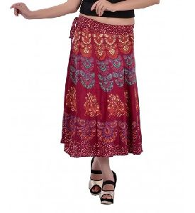 Hand Block Printed Midi Length Wrap Around Short Skirt