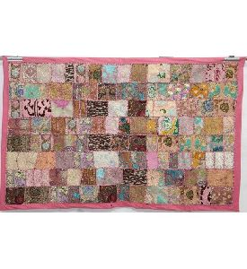 Handmade Cotton Wall Hanging, Ethnic Twin Size Patchwork Tapestry