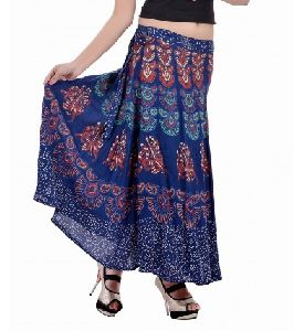 Mandala Hand Block Printed Full Length Wrap Around Skirt