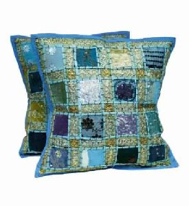 Sequin Patchwork Indian Sari Throw Pillow Cases Cushion Cover
