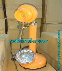 Vintage Brass Candlestick Telephone, Rotary Dial Old Retro Phone