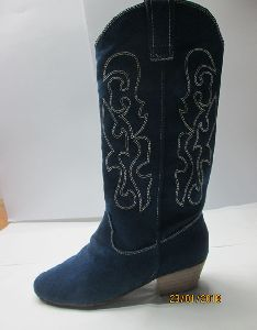 Ladies Line Dance Shoes In Blue Canvas Fabric