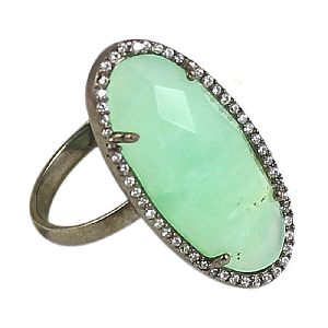 Silver Beaded Chrysoprase Oval Silver Pave Set Ring