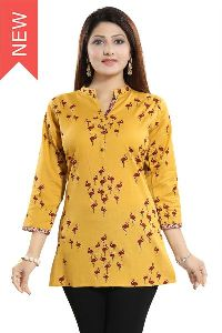 Funky Freeze Yellow Cotton Printed Short Tunic Top For Casual Wear