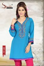 Turquoise Embroidered Women Tunic