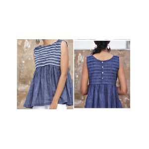Khadi Blue Ladies Top
