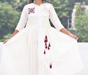 White Pehran Anarkali Kurti