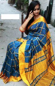 Handloom Silk Khadi Checks Saree