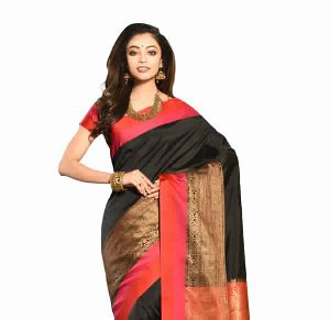 Black Chanderi Plain Saree
