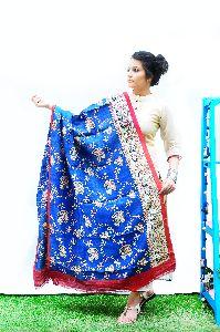 Blue Tussar Kalamkari Dupatta
