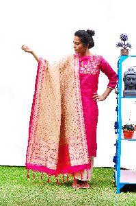 Golden Banarasi Silk Designer Dupatta