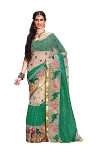 Green Super Net Embroidered Saree