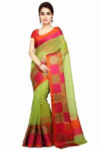 Green Super Net Saree