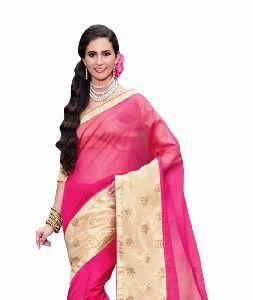 Neon Pink Super Net Saree