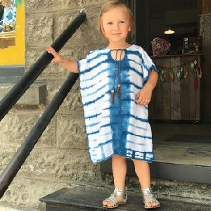 Kids Beachwear Rayon Tie Dye Cover Up Kaftan