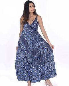 Women Wear Sari Silk Spaghetti Maxi Dress