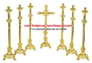 Altar Cross And Candle Sticks Set Of 7 Pieces