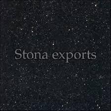 Semi Polished Black Galaxy Granite Slab