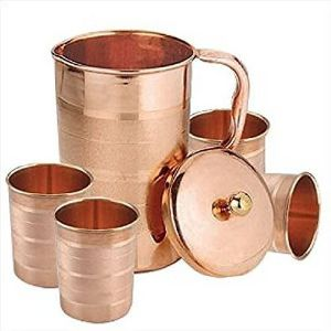 Polished Copper Jug With Four Glass Set