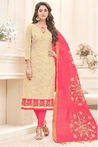 Unstitched Cotton Churidar Suit