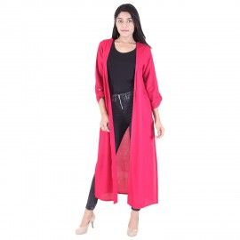 Women 3/4 Sleeve Length Fuschia Shrug