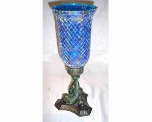 Fish Embossed Mosaic Glass Hurricane Candle Holder